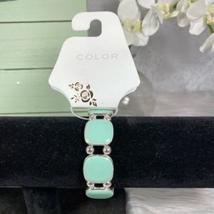 🆕Color Brand Silver and Green Square Bracelet